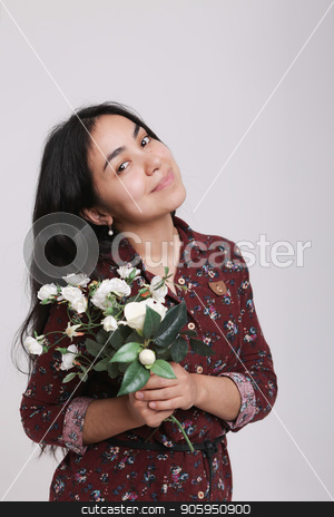 Portrait of a woman with flowers on white background stock photo, Portrait of a woman with flowers on white background by aaalll3110