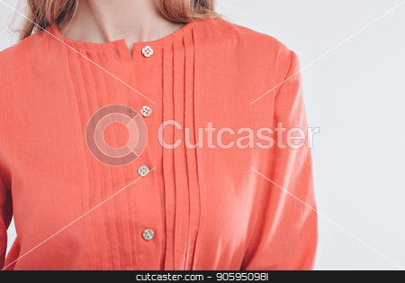 cropped photo: close-up of clothing items: red shirt stock photo, cropped photo: close-up of clothing items: red shirt by aaalll3110