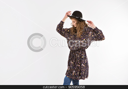girl dancing in loose dress on white background stock photo, girl dancing in loose dress on white background by aaalll3110
