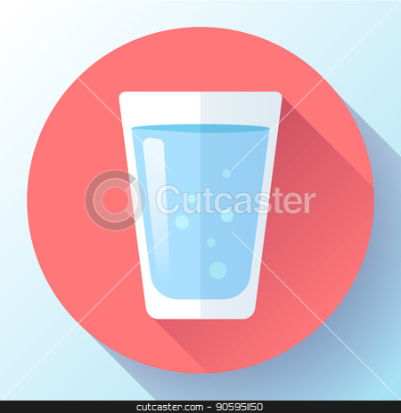 glass of water icon flat design stock vector clipart, glass of water icon flat design. Clear water glass icon. Save the water by MarySan