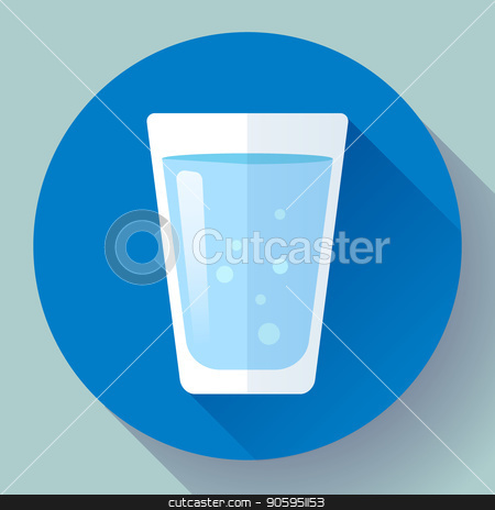 glass of water icon flat design stock vector clipart, glass of water icon flat design. Clear water glass icon. Save the water. Drink water every day by MarySan