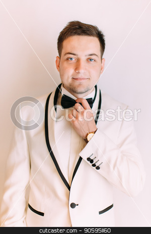The smiling handsome groom corrects his bow-tie. stock photo, The smiling handsome groom corrects his bow-tie by Andrii Kobryn