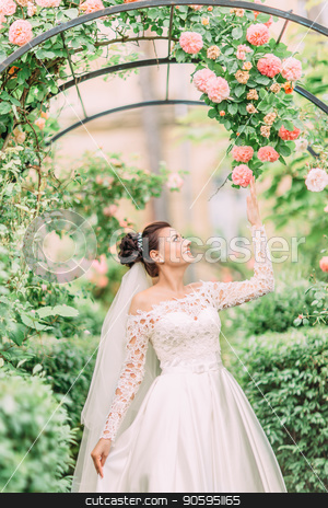 Half-length side portrait of the bride touching the roses on the arch. stock photo, Half-length side portrait of the bride touching the roses on the arch by Andrii Kobryn