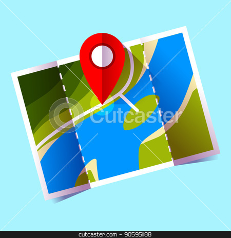 navigation icon vector, red pin on map icon vector. stock vector clipart, navigation icon vector, red pin on map icon vector by MarySan
