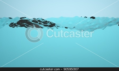 Half empty water tank illustration. Splashing clean water loopable animation. Water in a glass box. stock photo, Half empty water tank illustration. Splashing clean water loopable animation. Water in a glass box by T-flex