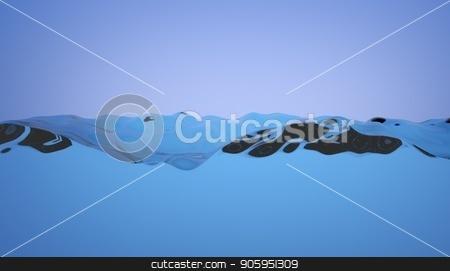 Half empty water tank illustration. Splashing clean water loopable animation. Seamless loop of water in a glass box. stock photo, Half empty water tank animation. Splashing clean water loopable animation. Seamless loop of water in a glass box by T-flex
