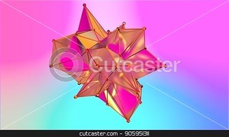 illustration of a shape metamorphosis of a polygonal semi transparent model. Multicolor polygonal 3D blot. stock photo, illustration of a shape metamorphosis of a polygonal semi transparent model. Multicolor polygonal 3D blot by T-flex