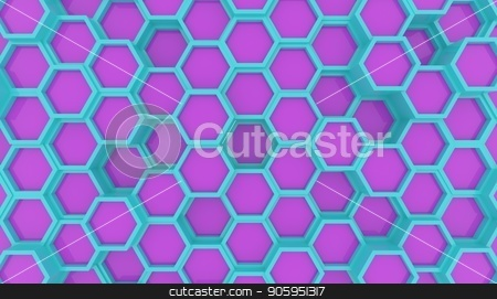 Illustration design of geometric hexagon surface. Grid pattern of waving hexagones. Cyan and Violet colors stock photo, Illustration design of geometric hexagon surface. Grid pattern of waving hexagones. Cyan and Violet colors by T-flex