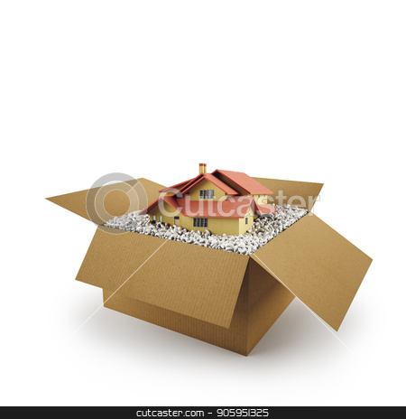 House in a cardboard box. Concept of buying a dwelling. 3D Rendering stock photo, House in a cardboard box on white background. 3D Rendering by Federico Caputo