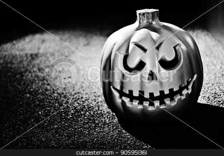 Scary halloween pumpkin stock photo, Black and white photo of a pumpkin with dramatic lighting by txking