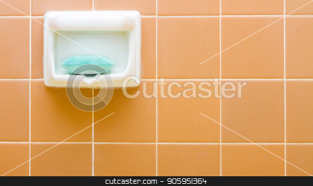 Soap the holder some tile in the bathroom stock photo, Single soap holder that has a bar of soap in it against a tiled background typical in your bathroom. Some empty copyspace to the right hand side. by txking