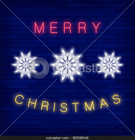 Merry Christmas Colorful Neon Sign stock vector clipart, Merry Christmas Colorful Neon Sign on Blue Brick Background by valeo5