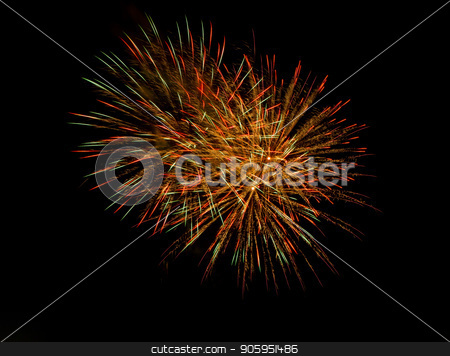 Happy new year or fourth of july stock photo, Centered image of exploding fireworks. can add more copy space in any direction due to it's isolated black background which would allow you to add your own text by txking