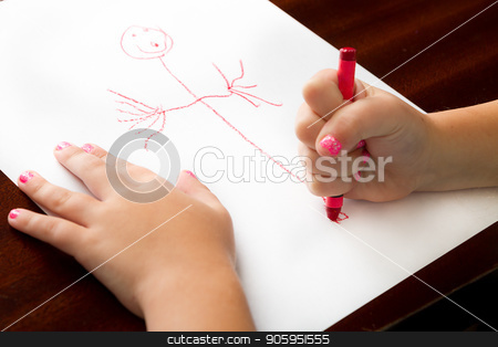 Childhood drawing at it's finest stock photo, Child producing fine art with a crayon. by txking