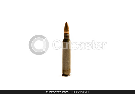 The killer or the savior? stock photo, .223 Round standing straight up isolated against a white background. by txking