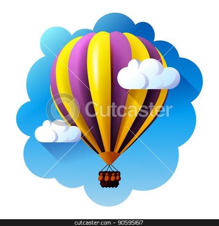 hot air balloon in clouds vector. stock vector clipart, hot air balloon in clouds vector illustration by MarySan
