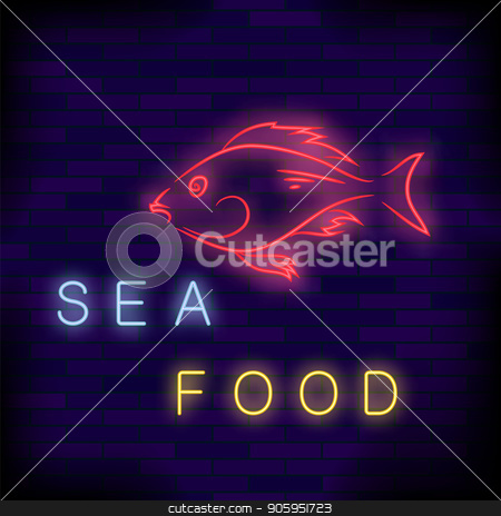 Colorful Neon Fish Cafe Sign stock vector clipart, Colorful Neon Fish Cafe Sign on Brick Wall Background. by valeo5