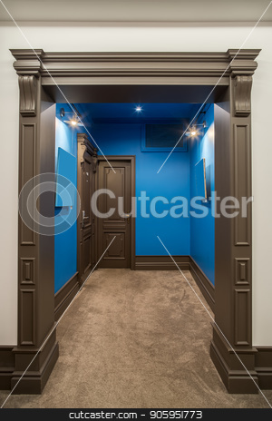 Stylish interior in hotel stock photo, Bright corridor in a hotel with blue and white walls and a beige carpet on the floor. There are two brown entrance doors to the rooms, luminous lamps. Vertical. by bezikus