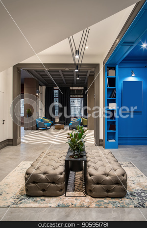Stylish interior in hotel stock photo, Wonderful hallway in the hotel with blue and light walls and a tiled floor. There are two sofas, shelves with books, black stand with green plants in the pots, luminous lamps, armchairs with tables. by bezikus