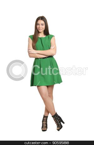woman in green dress stock photo, Portrait of Beautiful woman in green dress by Ruslan Huzau