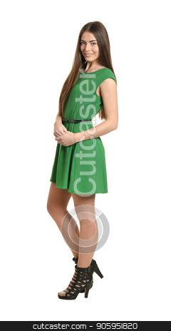 Beautiful woman in green dress stock photo, Beautiful woman in green dress on white background by Ruslan Huzau