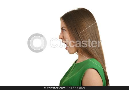 Beautiful woman scream stock photo, Beautiful woman scream on a white background by Ruslan Huzau