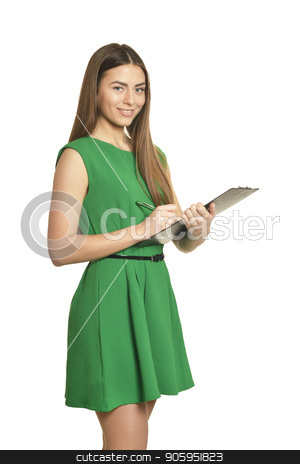 Beautiful woman with clipboard stock photo, Beautiful woman in green dress with clipboard on white background by Ruslan Huzau