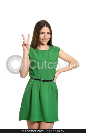 Woman with thumbs up stock photo, Portrait of woman in green dress with thumbs up by Ruslan Huzau
