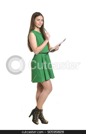 Beautiful woman with clipboard stock photo, Beautiful woman with clipboard on white background by Ruslan Huzau