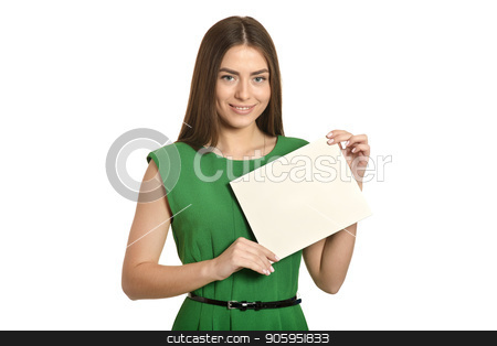 Beautiful woman in green stock photo, Beautiful woman in green dress with white banner on white background by Ruslan Huzau