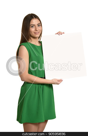 young girl with empty sheet of paper stock photo, young girl with empty sheet of paper against white background by Ruslan Huzau