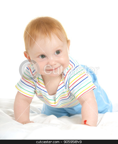 Adorable baby boy  stock photo, Adorable baby boy on a white background by Ruslan Huzau