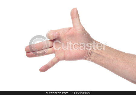 Hand of senior woman showing dog sign with fingers  stock photo, Hand of senior woman showing dog sign with fingers isolated on white background by Ruslan Huzau