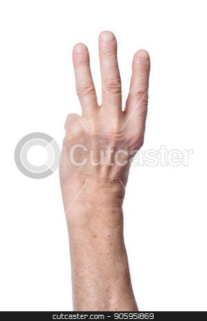 Hand of senior woman showing three fingers stock photo, Hand of senior woman showing three fingers isolated on white background by Ruslan Huzau