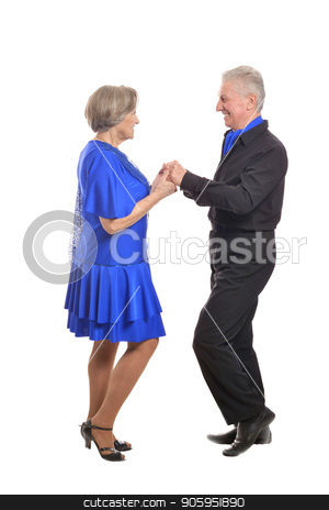 Portrait of an older couple stock photo, Full length portrait of senior couple dancing on a white background by Ruslan Huzau