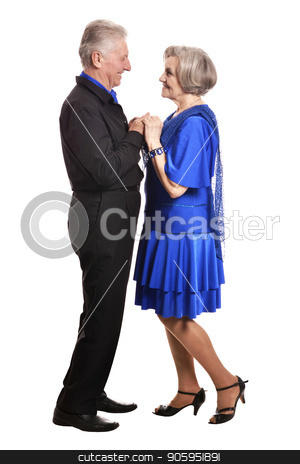 beautiful senior couple dancing stock photo, Portrait of beautiful senior couple dancing   isolated on white background by Ruslan Huzau