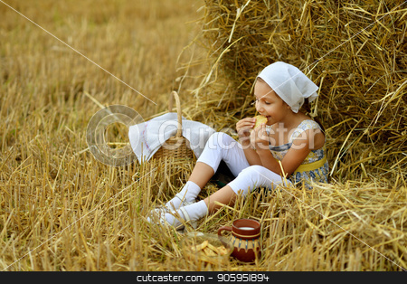 girl with milk and fritter in field stock photo, portrait of a beautiful little girl with milk and fritter in field at summer by Ruslan Huzau