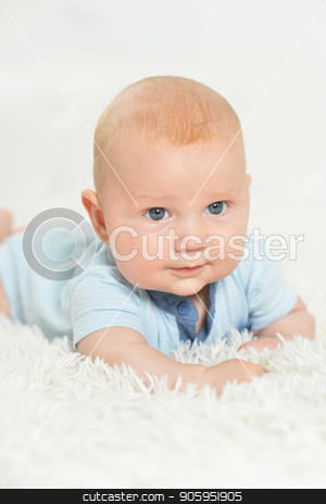beautiful  baby boy on bed stock photo, Cute beautiful  baby boy on bed at home by Ruslan Huzau