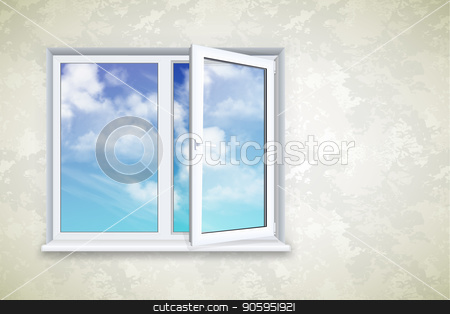 Realistic open plastic window stock vector clipart, Realistic open square window on the background of wallpaper and sky by D0r0thy