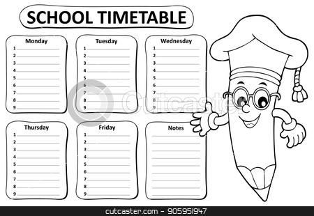 Black and white school timetable topic 1 stock vector clipart, Black and white school timetable topic 1 - eps10 vector illustration. by Klara Viskova