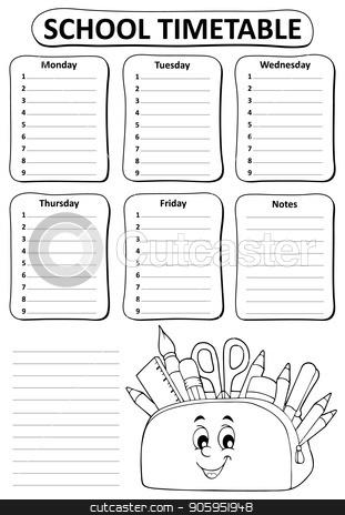 Black and white school timetable topic 2 stock vector clipart, Black and white school timetable topic 2 - eps10 vector illustration. by Klara Viskova