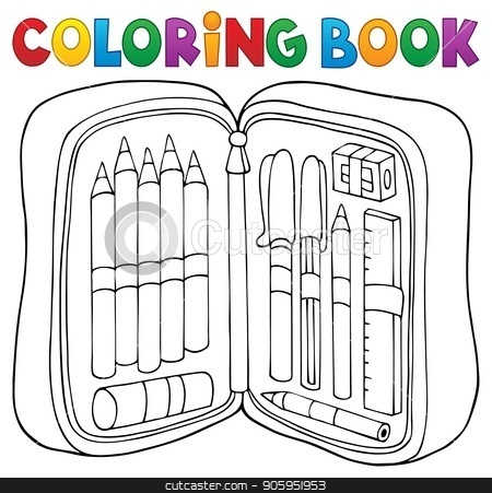 Coloring book pencil case theme 1 stock vector clipart, Coloring book pencil case theme 1 - eps10 vector illustration. by Klara Viskova