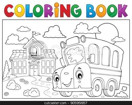 Coloring book school bus theme 6 stock vector clipart, Coloring book school bus theme 6 - eps10 vector illustration. by Klara Viskova