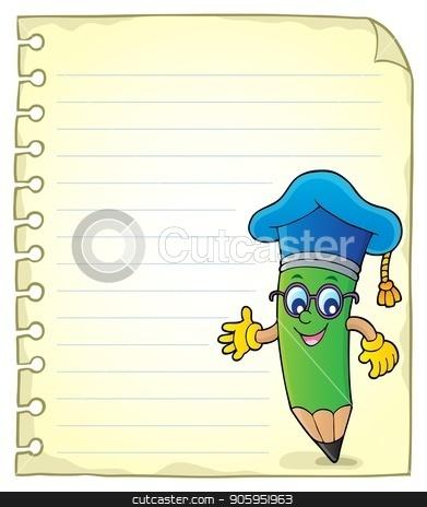 Notepad page with pencil teacher stock vector clipart, Notepad page with pencil teacher - eps10 vector illustration. by Klara Viskova