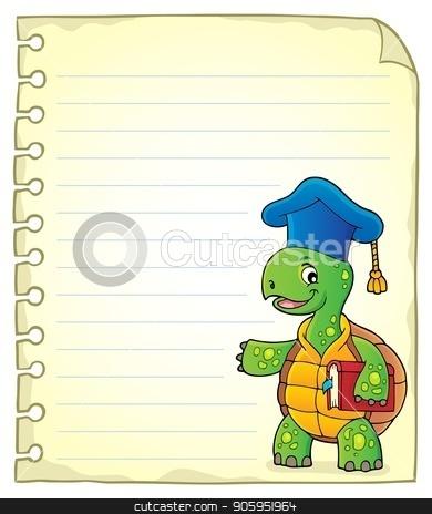 Notepad page with turtle teacher stock vector clipart, Notepad page with turtle teacher - eps10 vector illustration. by Klara Viskova