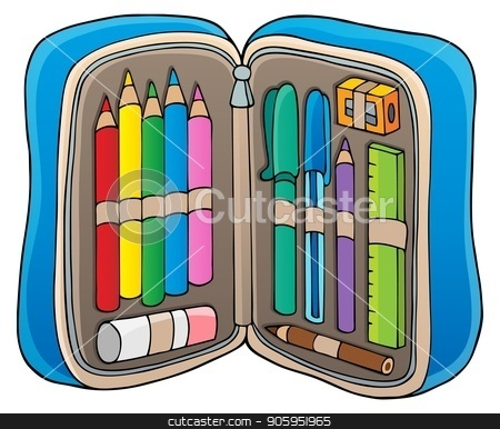 Pencil case theme image 1 stock vector clipart, Pencil case theme image 1 - eps10 vector illustration. by Klara Viskova