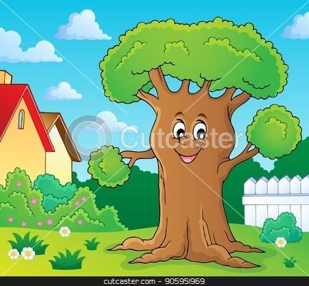 Cheerful tree theme image 2 stock vector clipart, Cheerful tree theme image 2 - eps10 vector illustration. by Klara Viskova