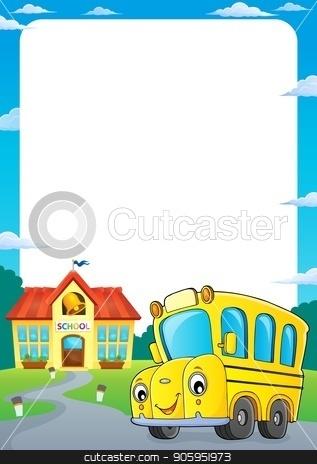 School bus thematics frame 1 stock vector clipart, School bus thematics frame 1 - eps10 vector illustration. by Klara Viskova