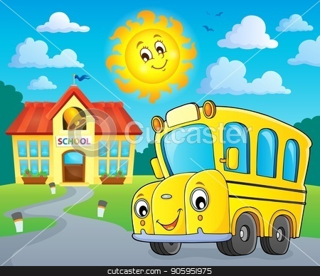 School bus thematics image 2 stock vector clipart, School bus thematics image 2 - eps10 vector illustration. by Klara Viskova