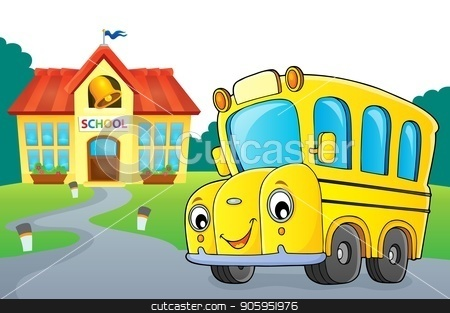 School bus thematics image 3 stock vector clipart, School bus thematics image 3 - eps10 vector illustration. by Klara Viskova